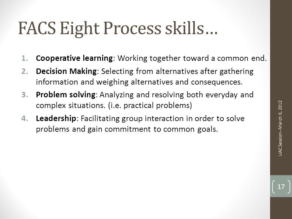 FACS Eight Process skills…