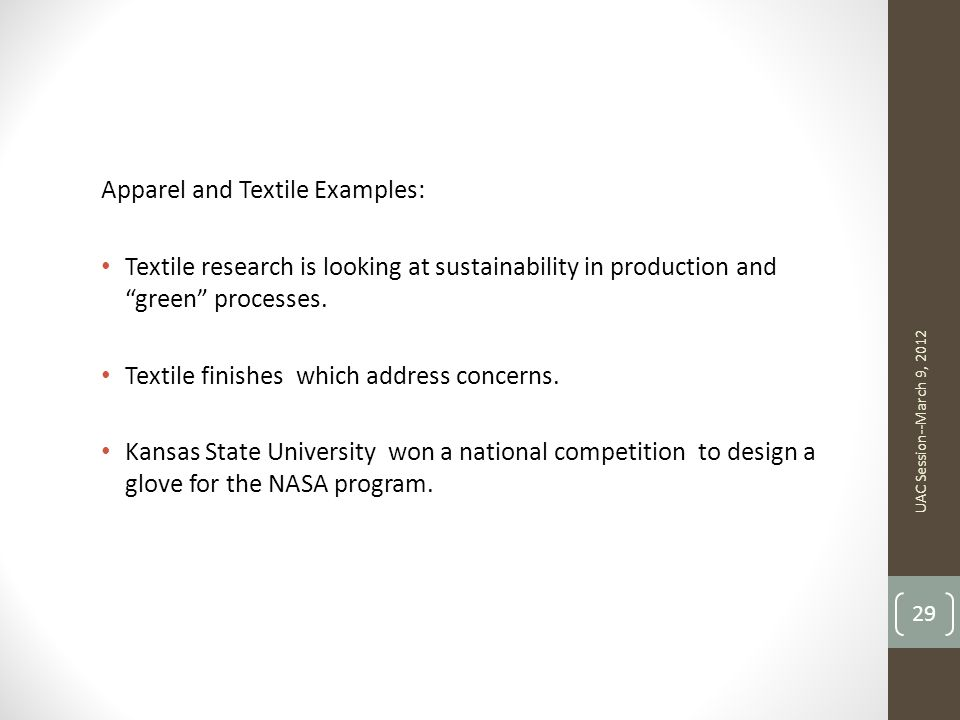 Apparel and Textile Examples: