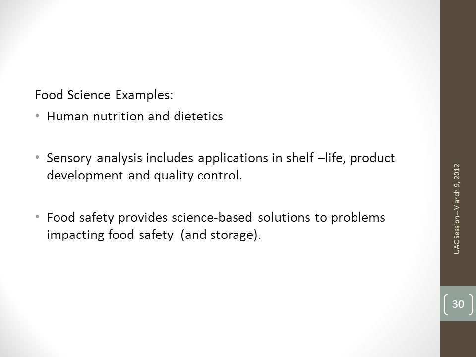 Food Science Examples: Human nutrition and dietetics
