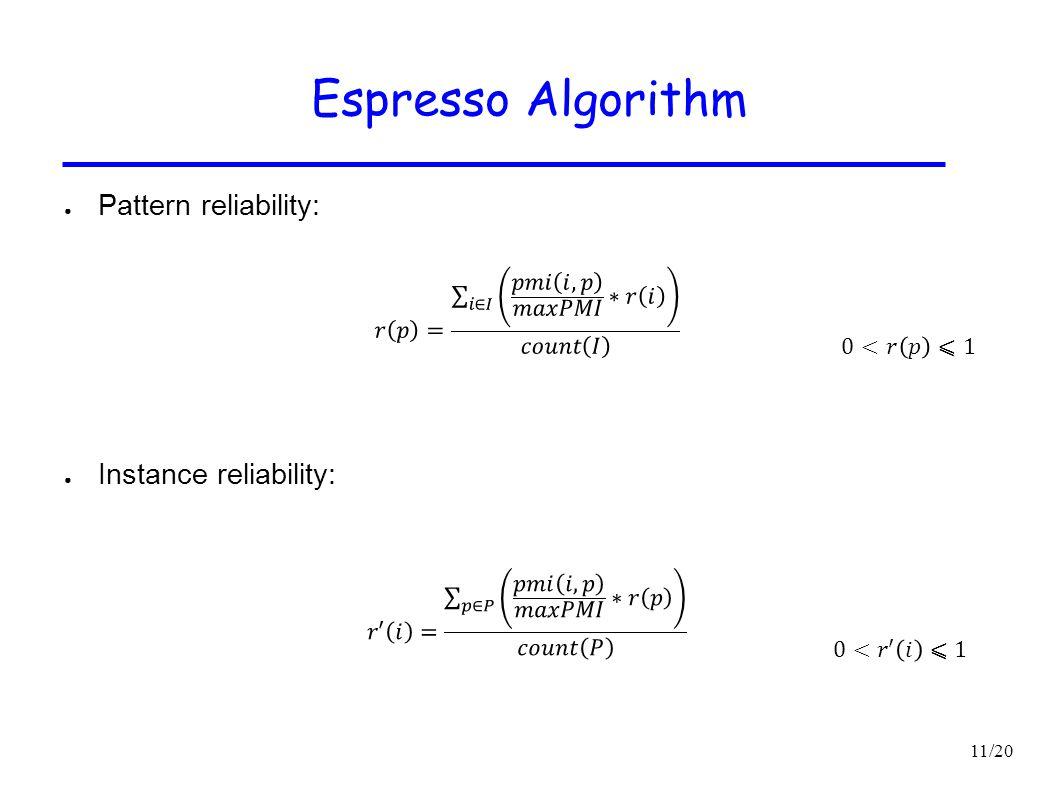 Espresso Algorithm Pattern reliability: Instance reliability: