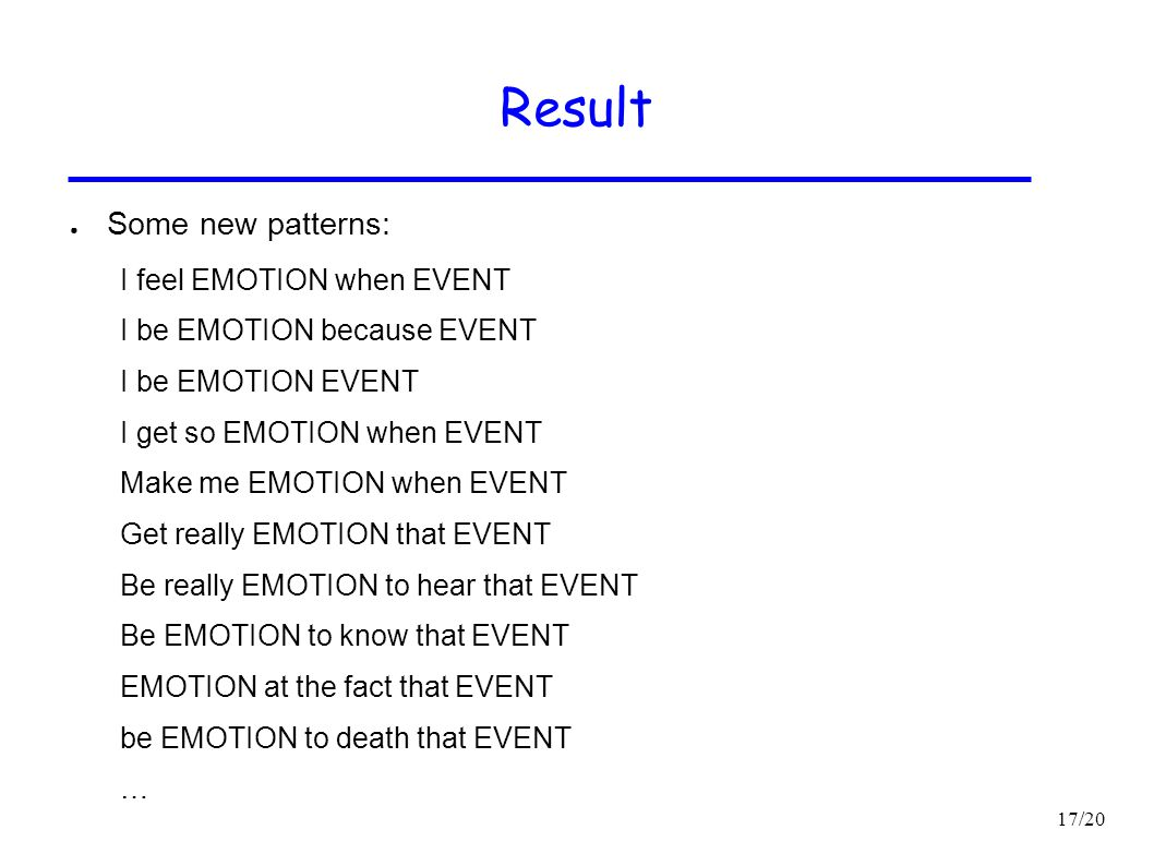 Result Some new patterns: I feel EMOTION when EVENT