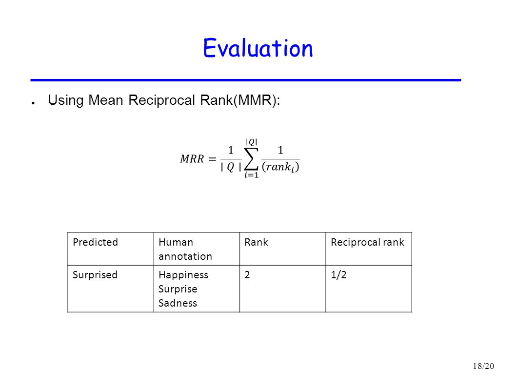 Evaluation Using Mean Reciprocal Rank(MMR):