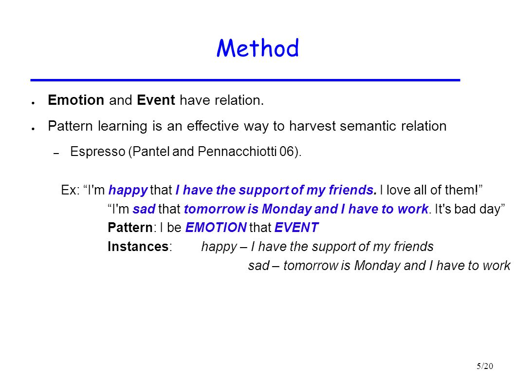 Method Emotion and Event have relation.