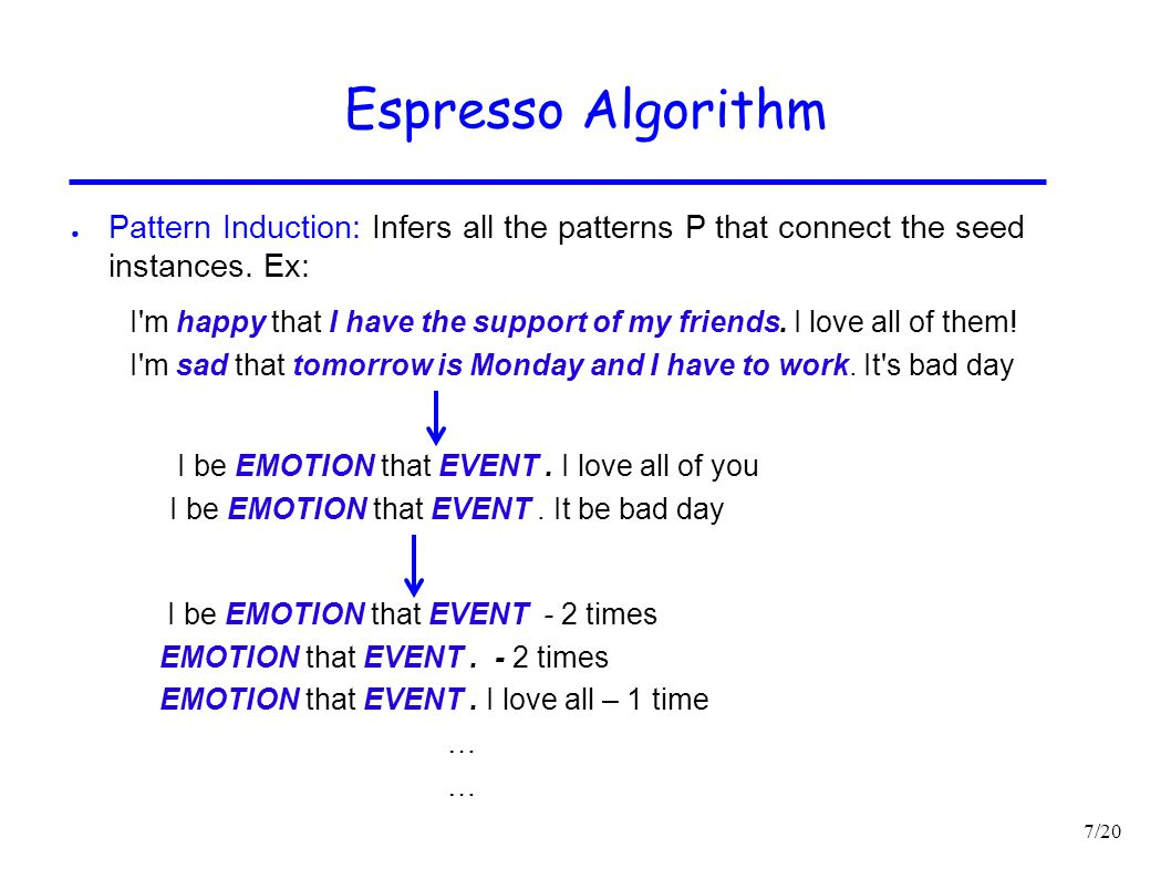 Espresso Algorithm Pattern Induction: Infers all the patterns P that connect the seed instances. Ex: