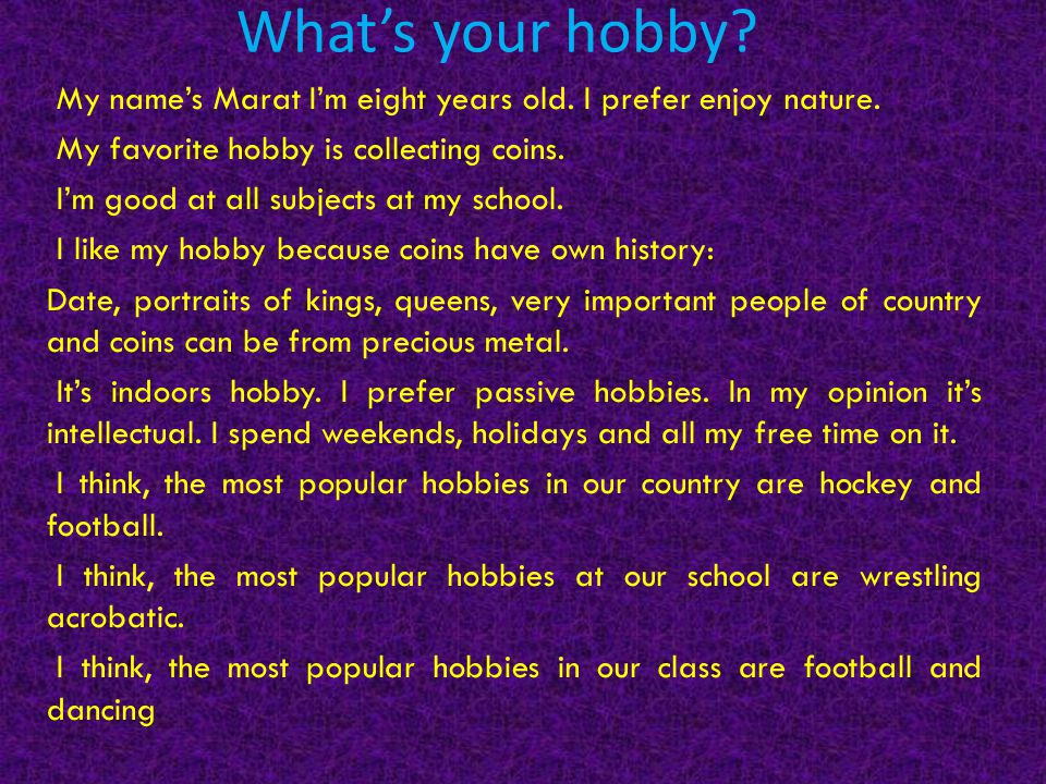 importance of hobbies The psychology of hobbies why do people have different hobbies people who blame others, act like victims or have external locus of control are less likley to develop any hobbies even if they have certain important needs.