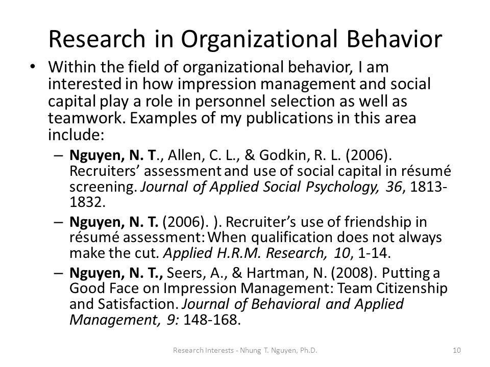 Research in Organizational Behavior