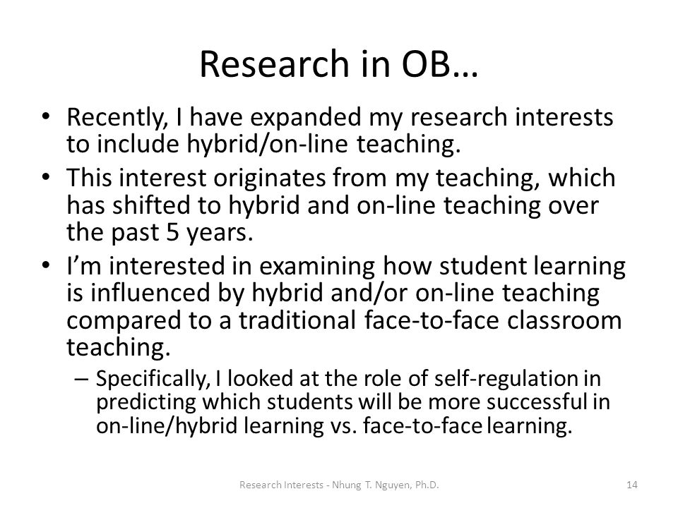 Research Interests - Nhung T. Nguyen, Ph.D.