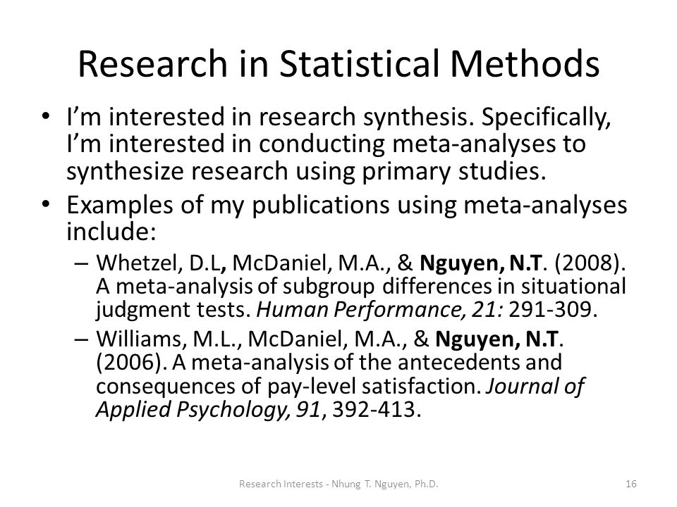 Research in Statistical Methods