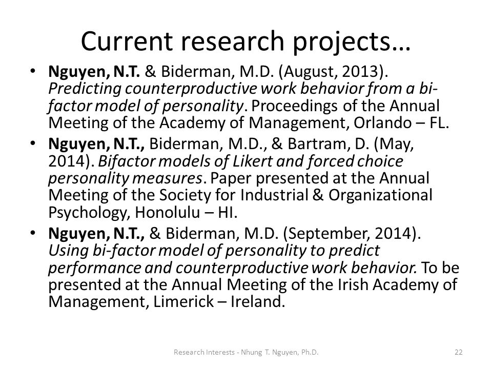 Current research projects…