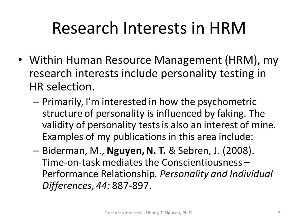 Research Interests in HRM