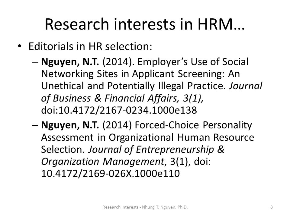 hrm research article Human resource management ethics and professionals' dilemmas: a review and research agenda abstract reference full-text.