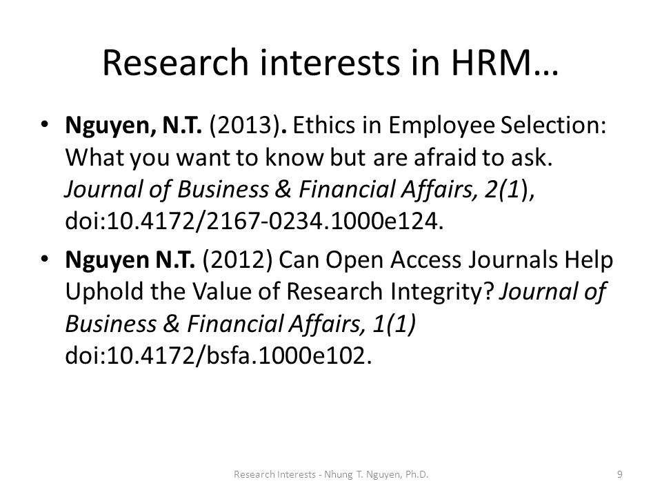 Research interests in HRM…