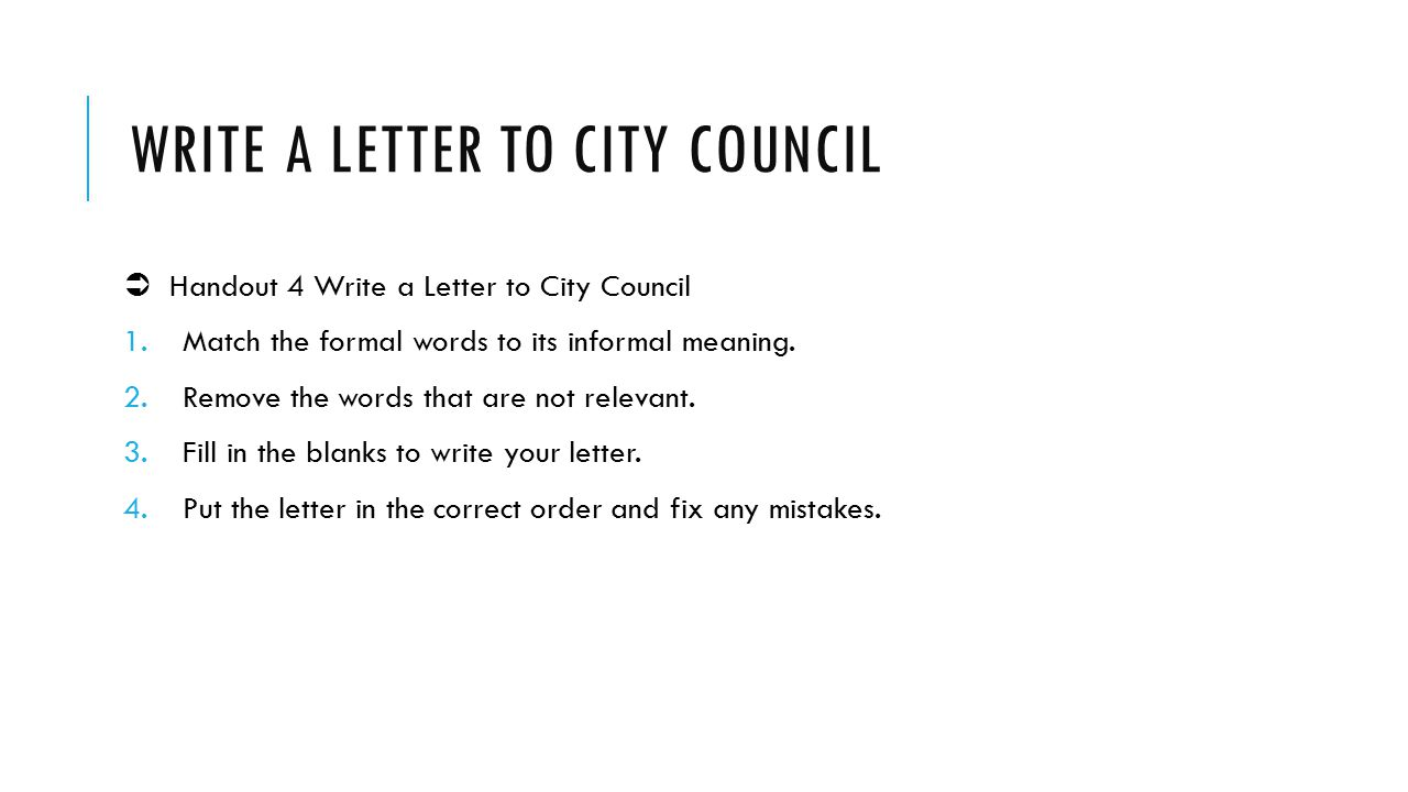 Write a letter to city council