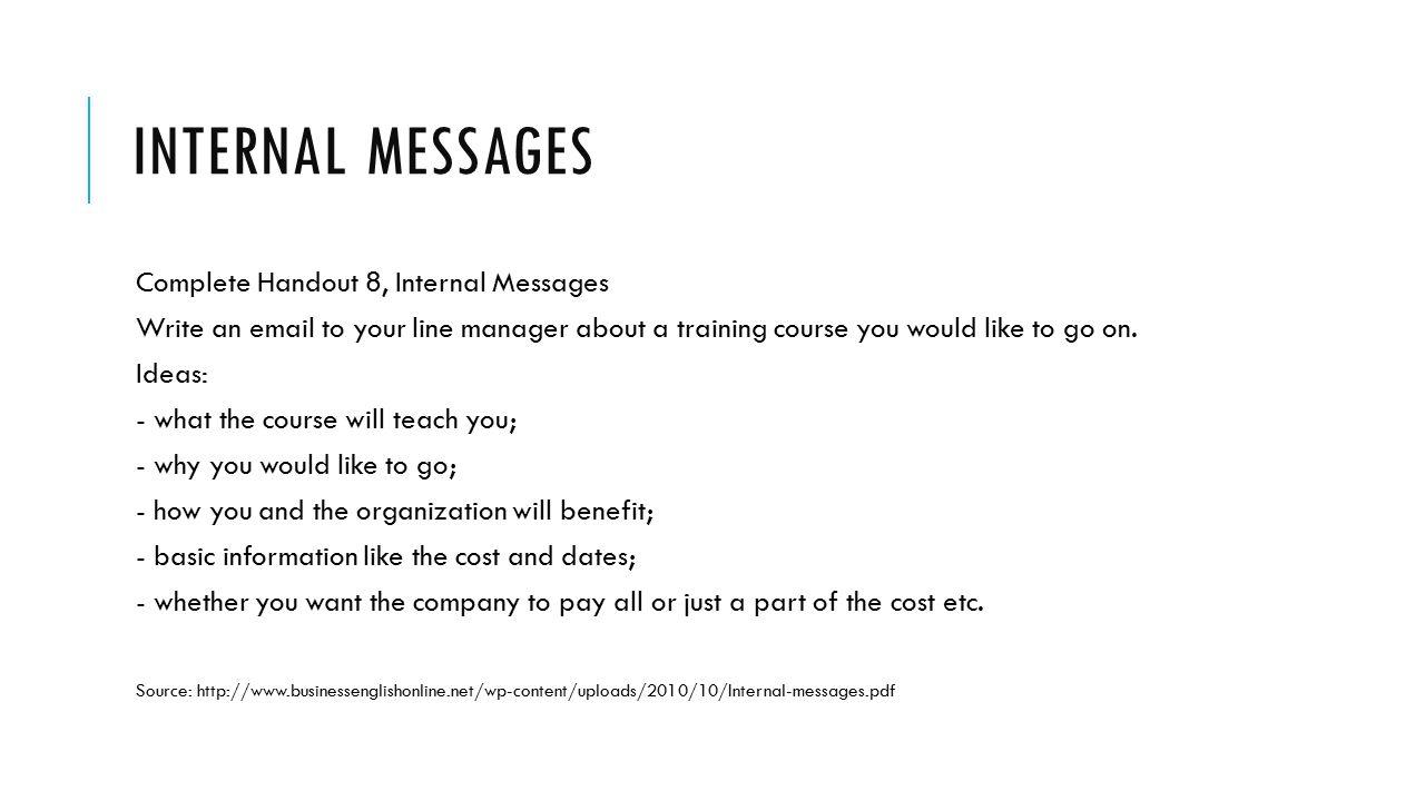 Internal Messages Complete Handout 8, Internal Messages