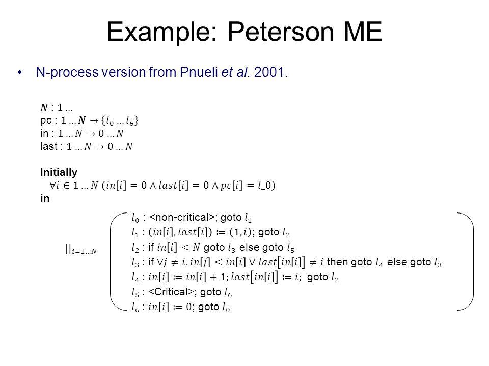Example: Peterson ME N-process version from Pnueli et al. 2001. 𝑵 : 1…
