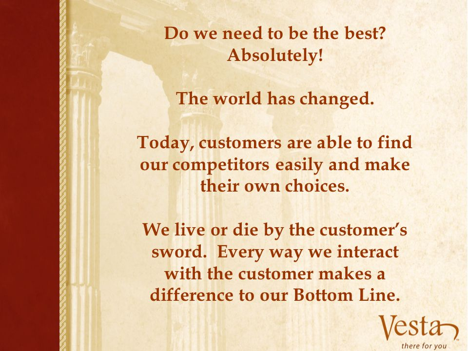 Do we need to be the best Absolutely!