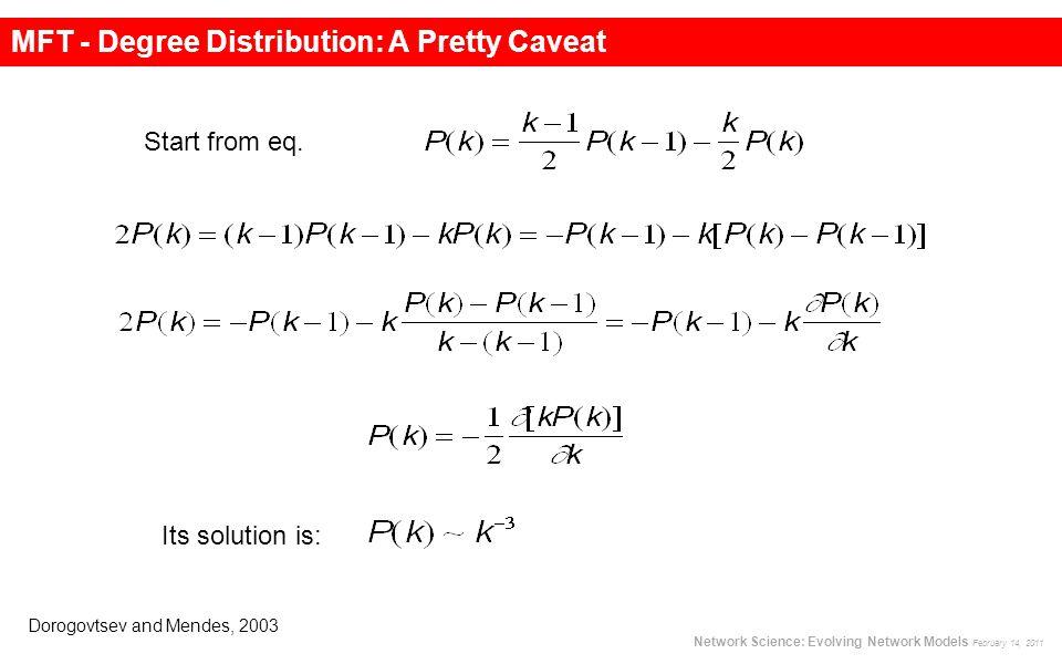 MFT - Degree Distribution: A Pretty Caveat