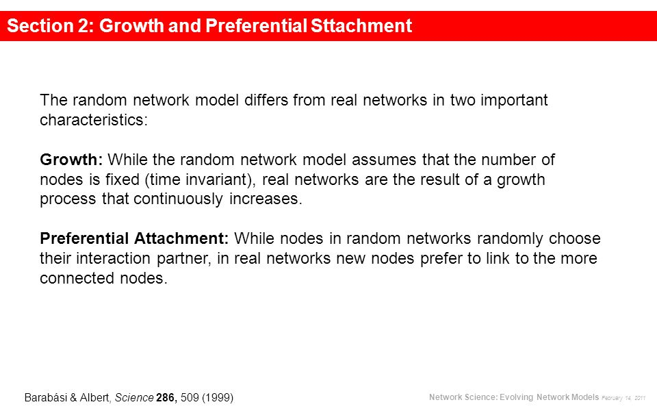 BA model: Growth Section 2: Growth and Preferential Sttachment