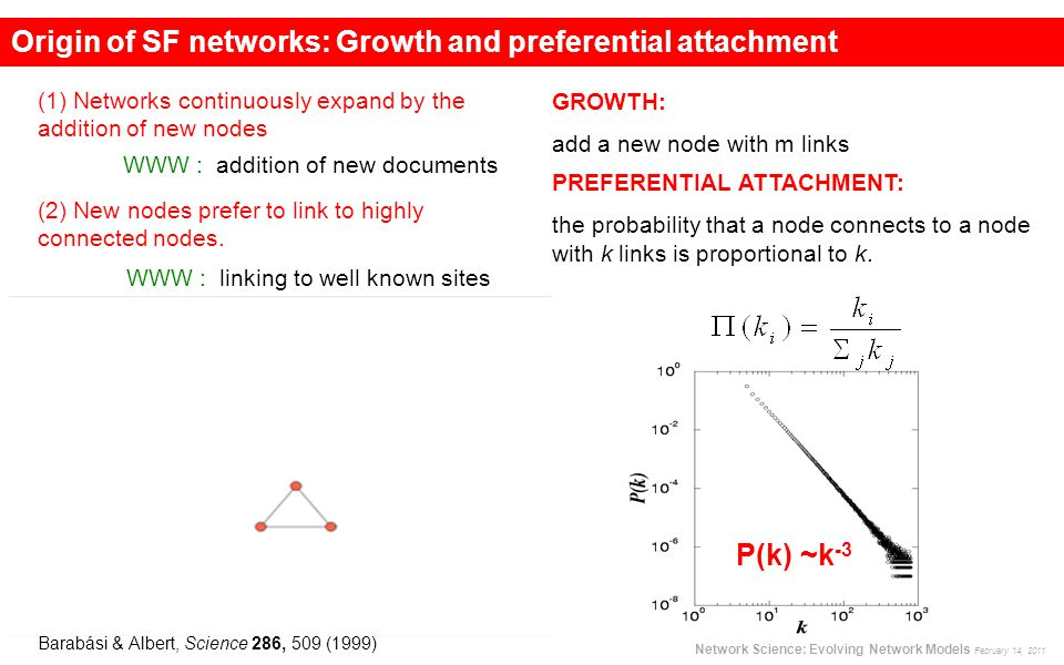Origin of SF networks: Growth and preferential attachment