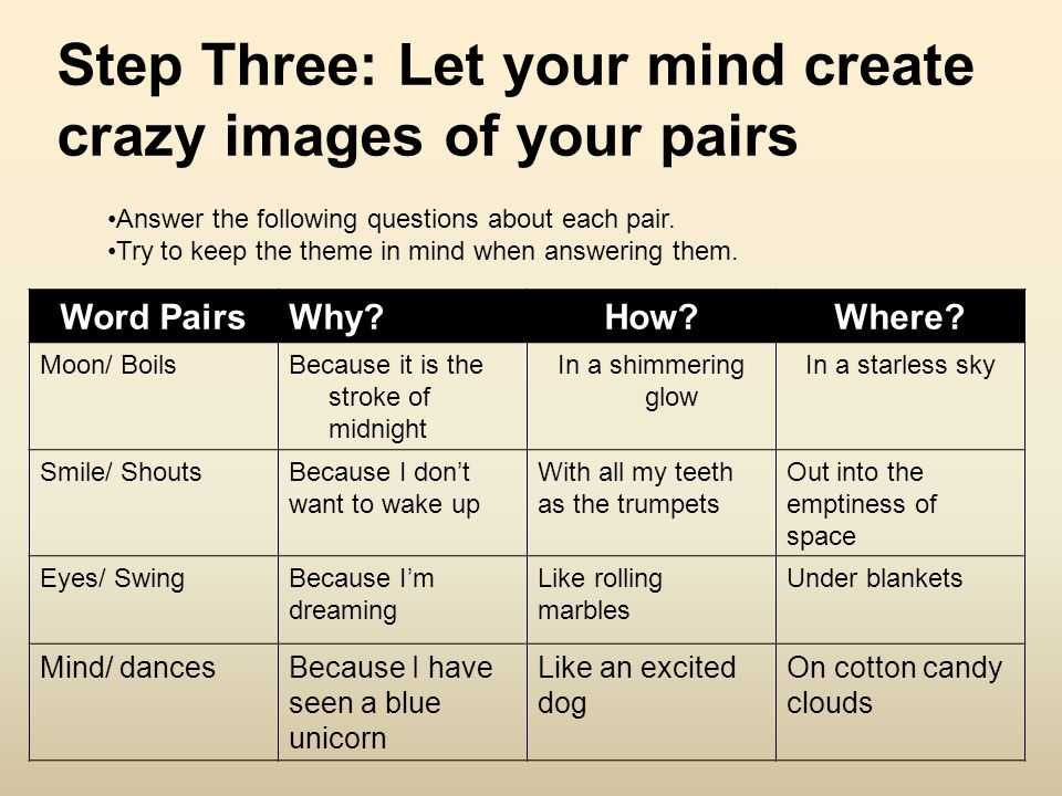 Step Three: Let your mind create crazy images of your pairs