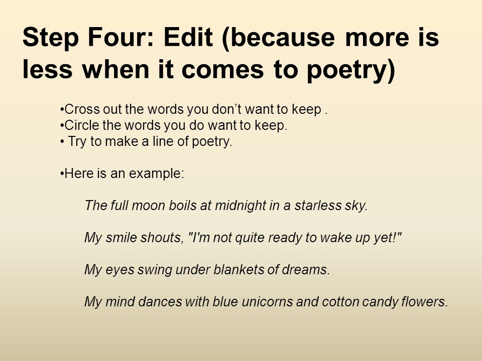 Step Four: Edit (because more is less when it comes to poetry)
