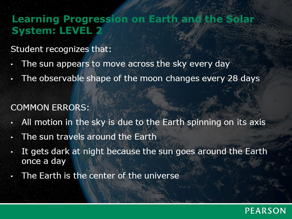 Learning Progression on Earth and the Solar System: LEVEL 3