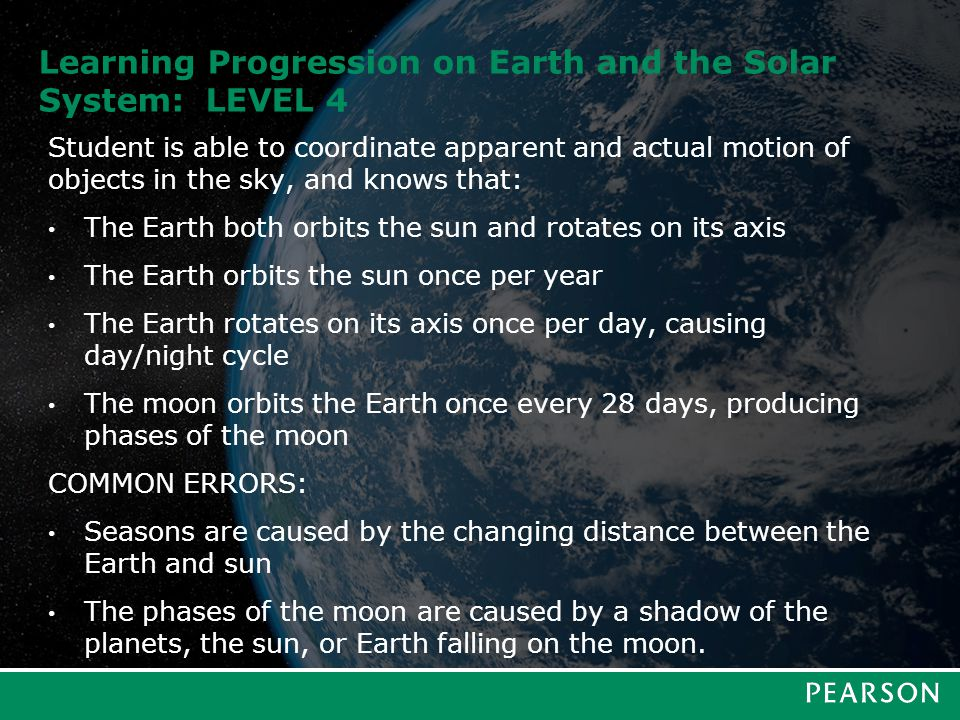 Learning Progression on Earth and the Solar System: LEVEL 5