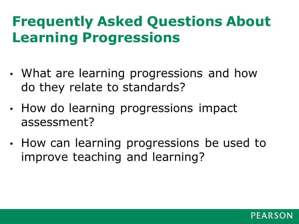 Today's webinar What are learning progressions