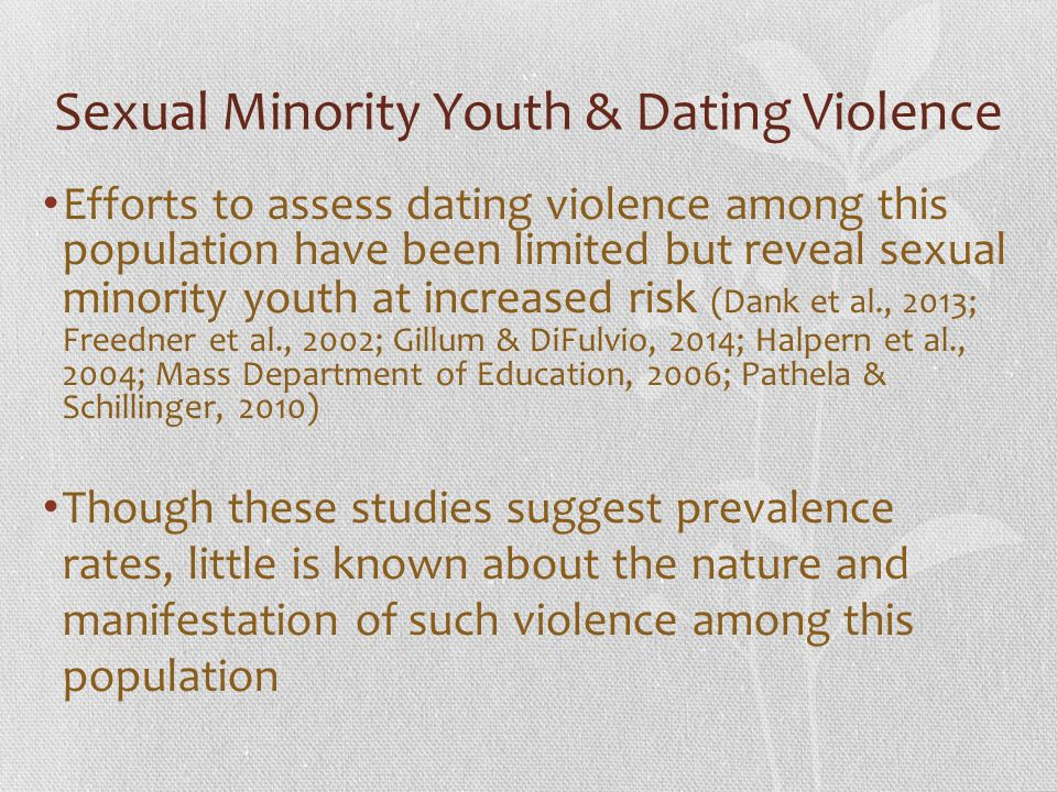 Sexual Minority Youth & Dating Violence