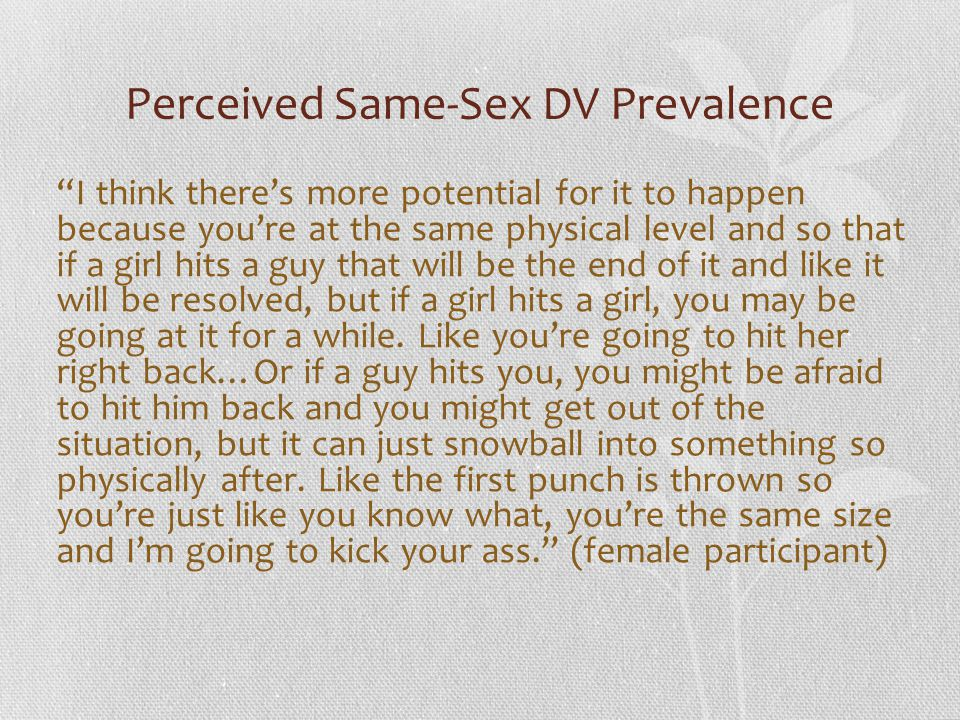 Perceived Same-Sex DV Prevalence