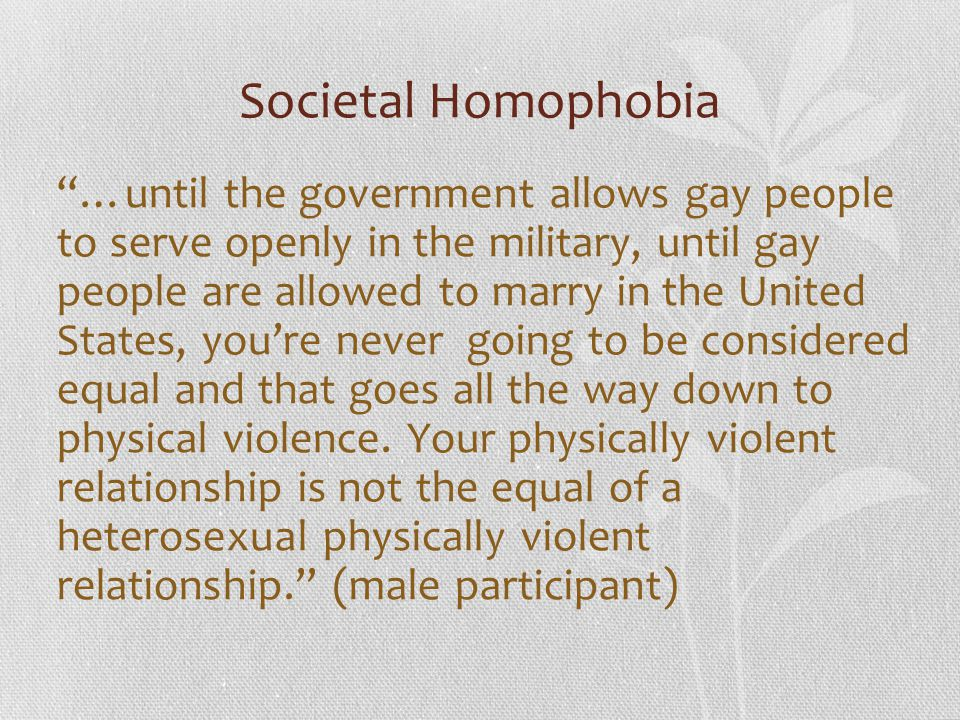 Societal Homophobia