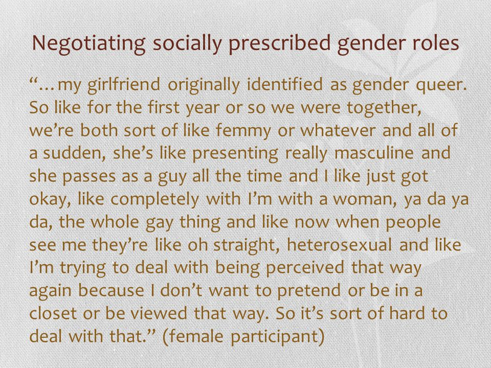 Negotiating socially prescribed gender roles