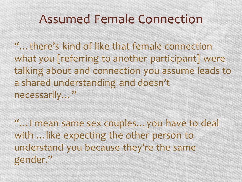 Assumed Female Connection