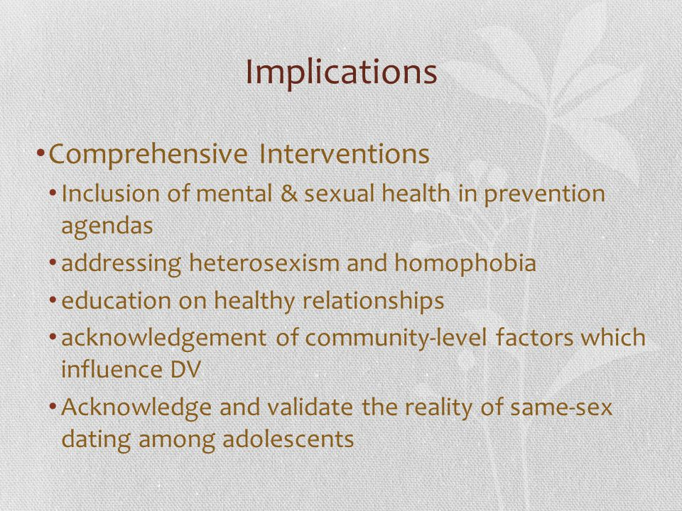 Implications Comprehensive Interventions
