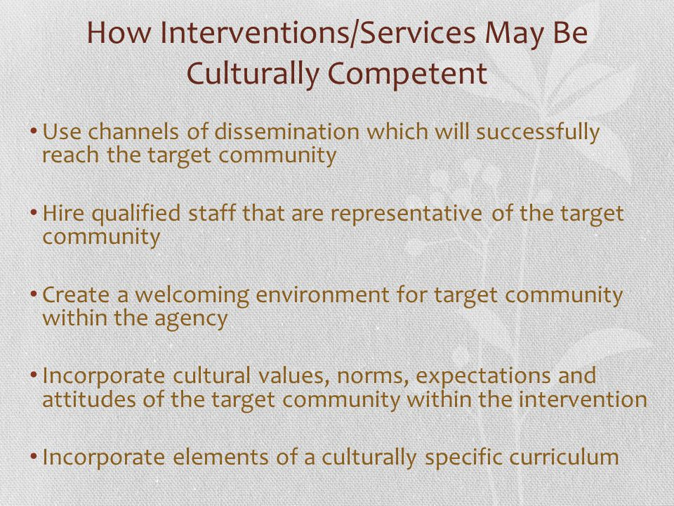 How Interventions/Services May Be Culturally Competent