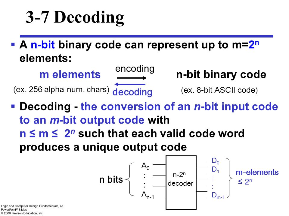 3-7 Decoding A n-bit binary code can represent up to m=2n elements: