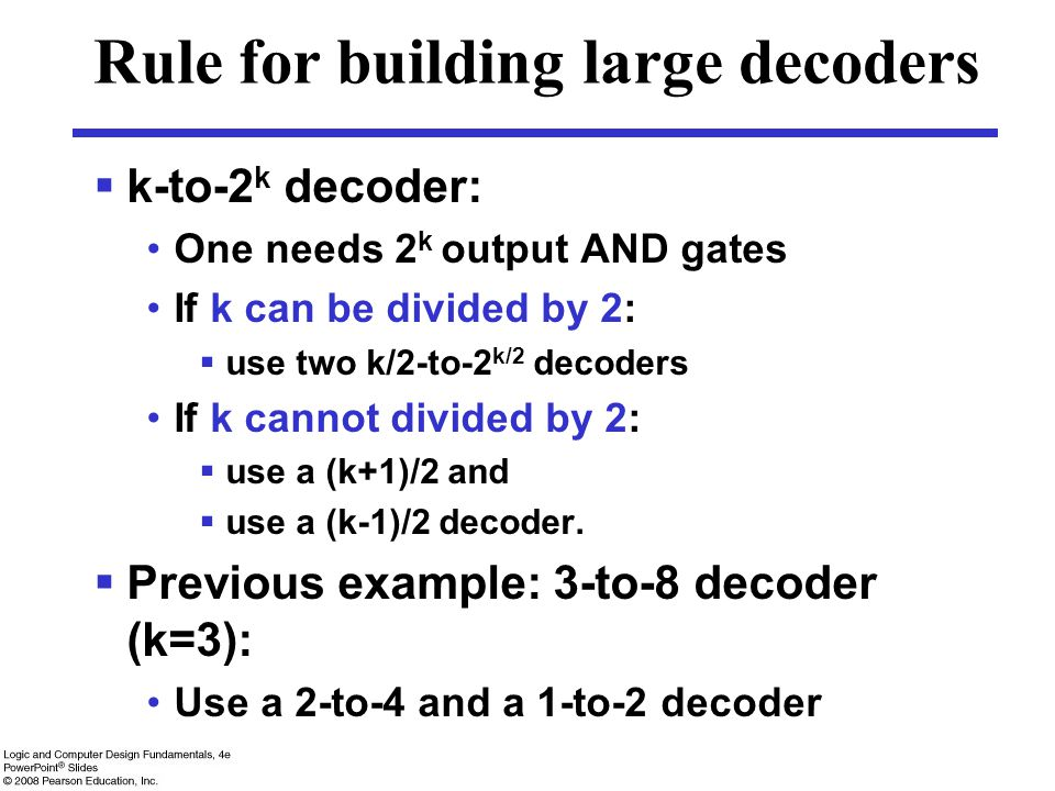 Rule for building large decoders