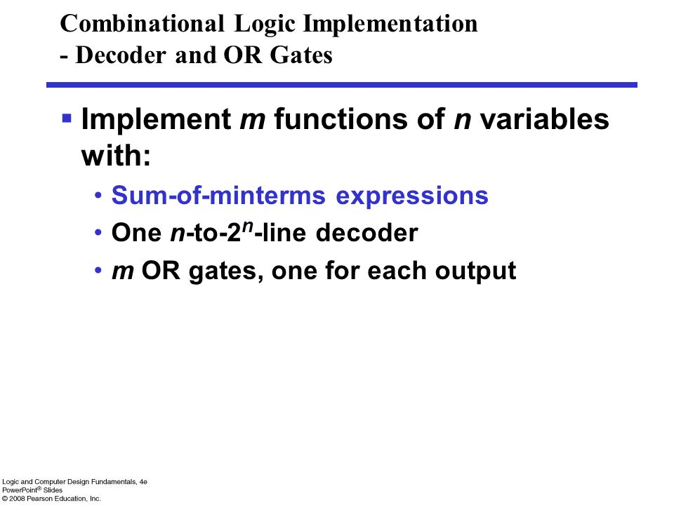 Combinational Logic Implementation - Decoder and OR Gates