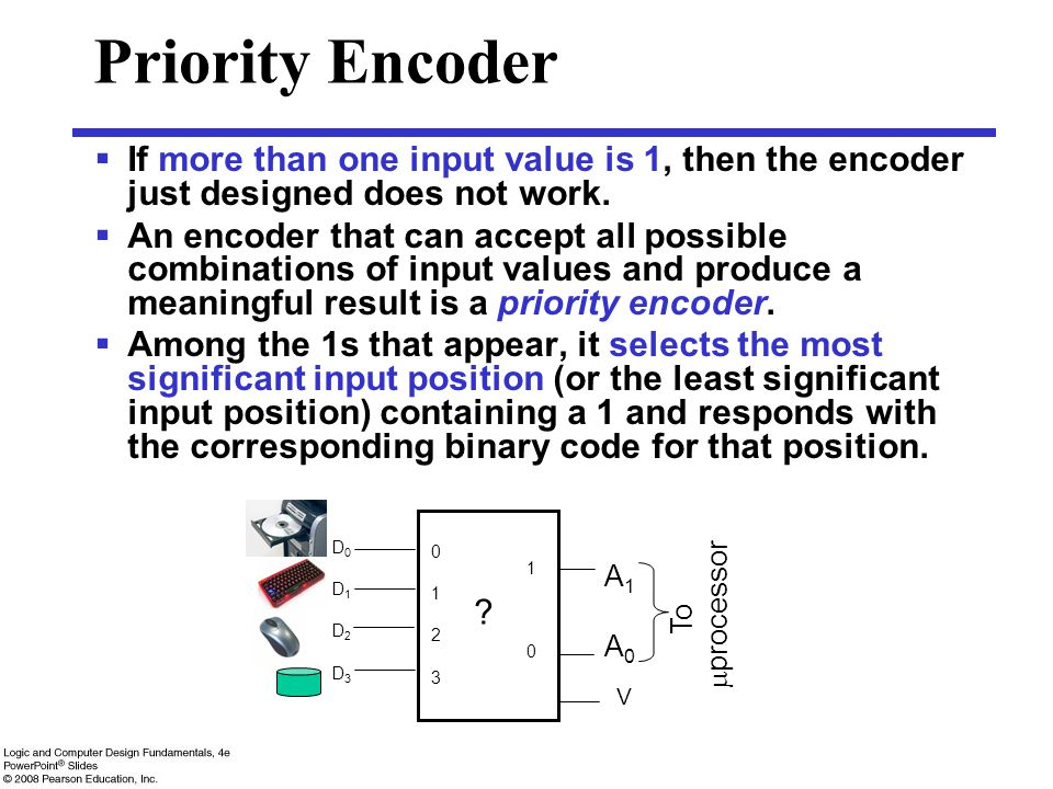 Priority Encoder If more than one input value is 1, then the encoder just designed does not work.