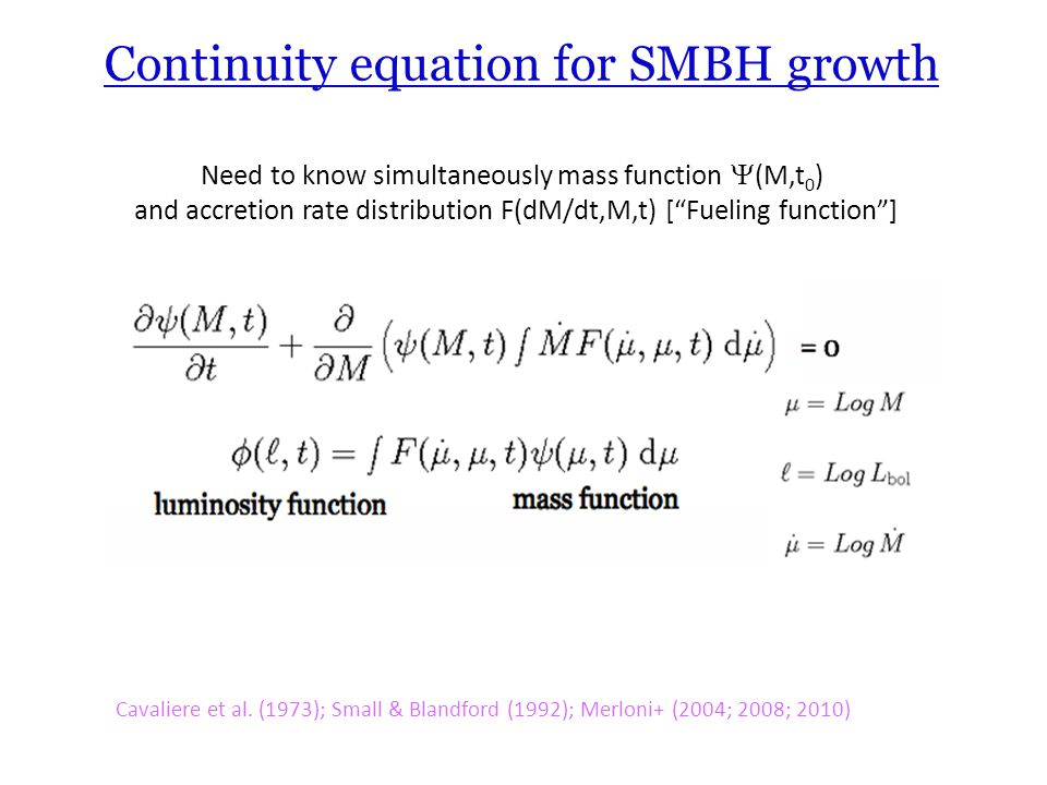 Continuity equation for SMBH growth