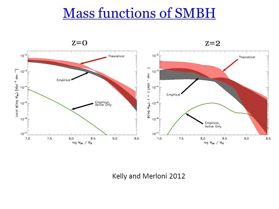Mass functions of SMBH z=0 z=2 Kelly and Merloni 2012