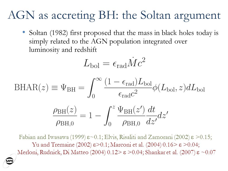 AGN as accreting BH: the Soltan argument