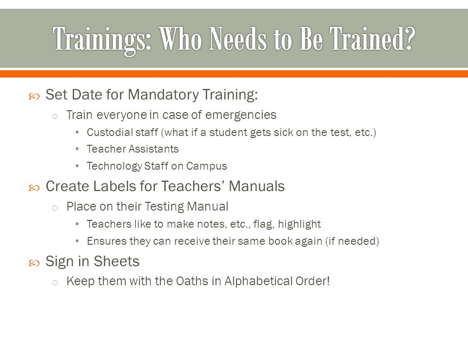 Trainings: Who Needs to Be Trained