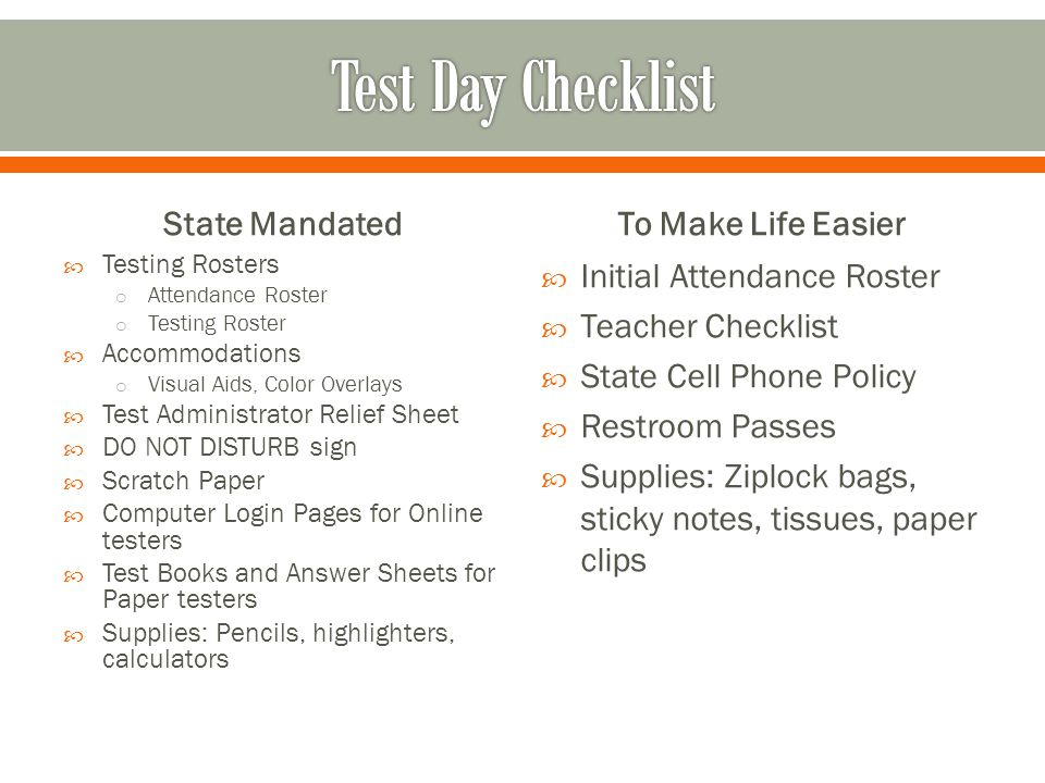 Test Day Checklist State Mandated To Make Life Easier