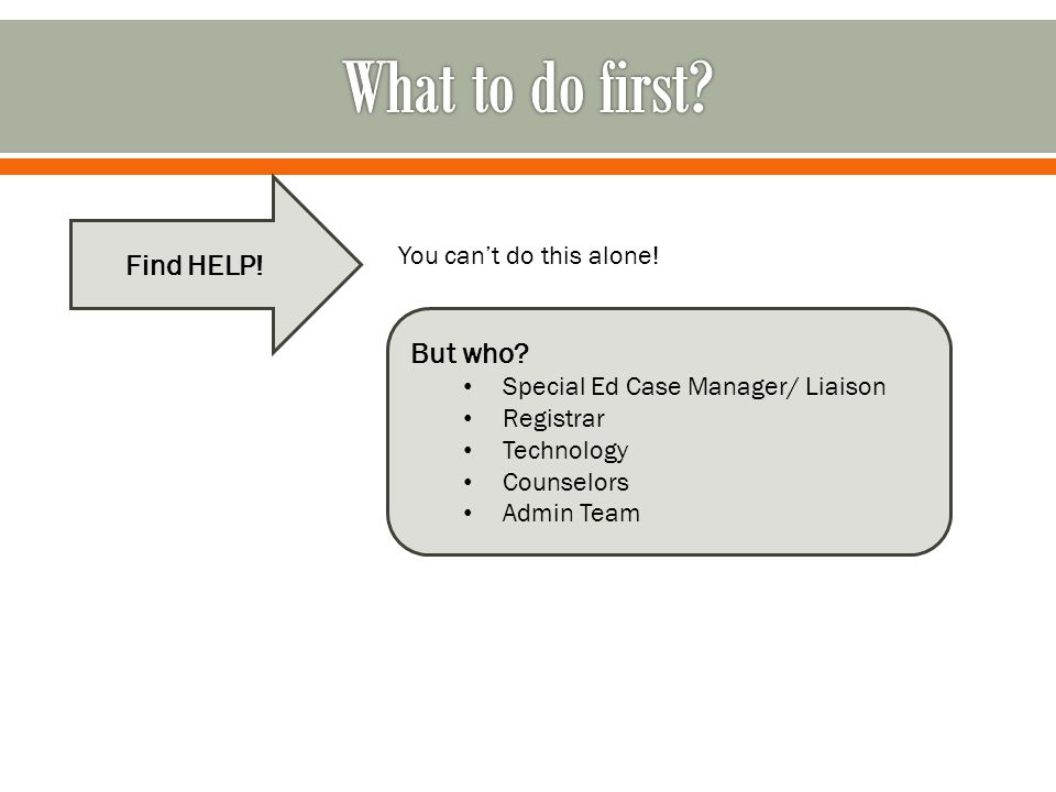 What to do first Find HELP! But who You can't do this alone!