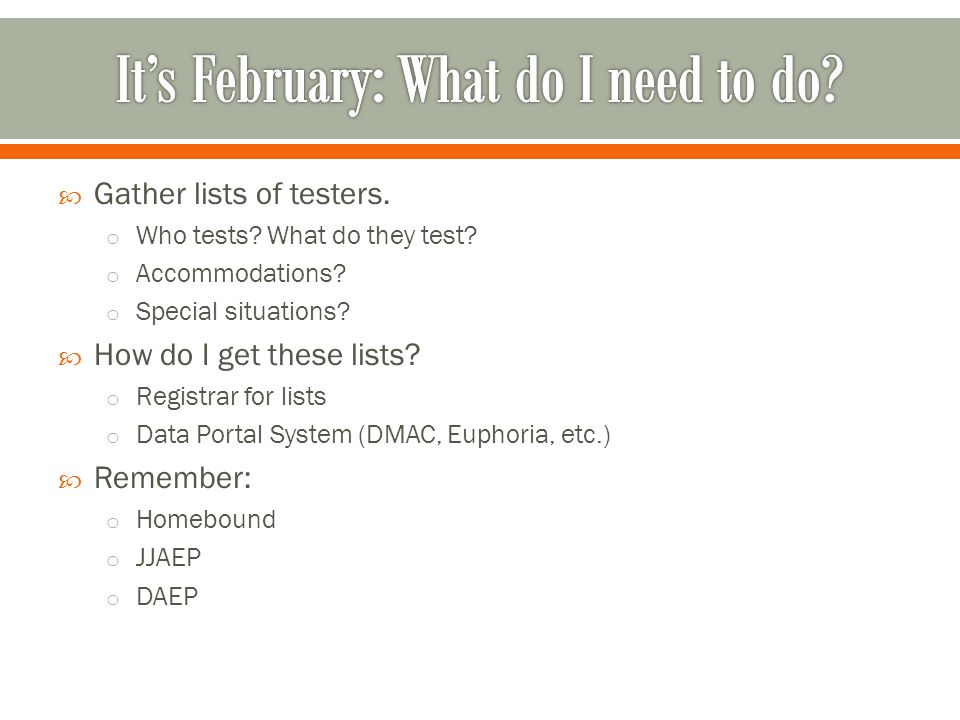 It's February: What do I need to do