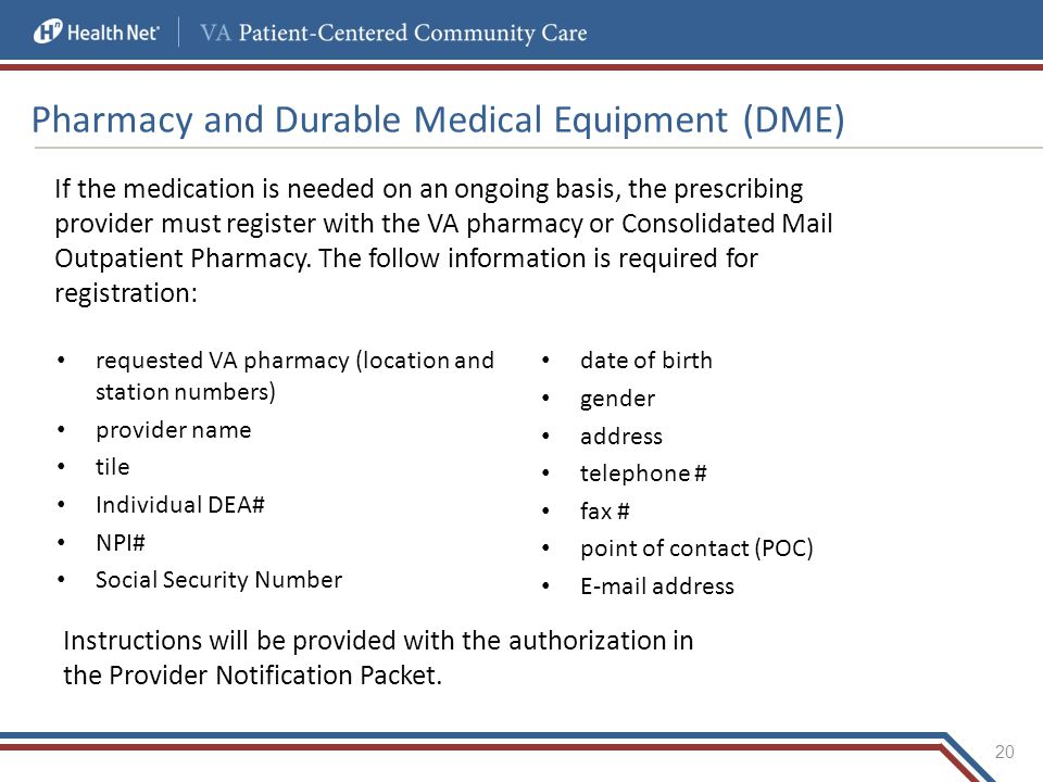Pharmacy and Durable Medical Equipment (DME)
