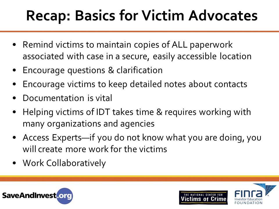 Recap: Basics for Victim Advocates