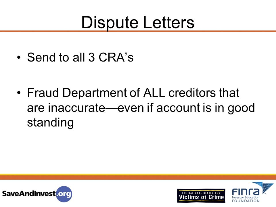 Dispute Letters Send to all 3 CRA's