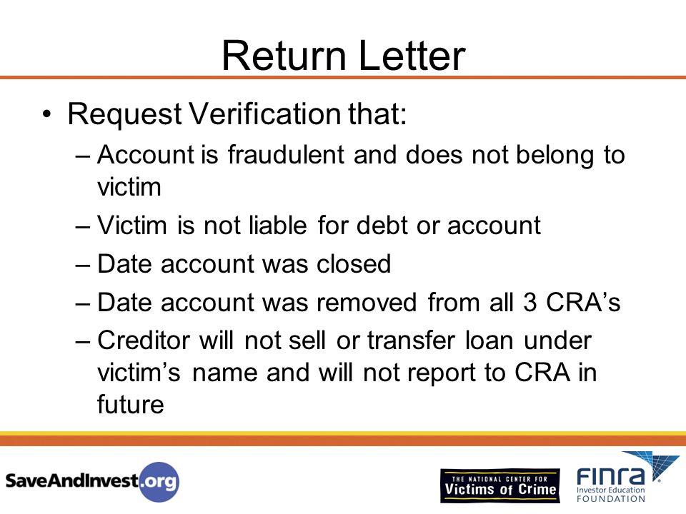 Return Letter Request Verification that: